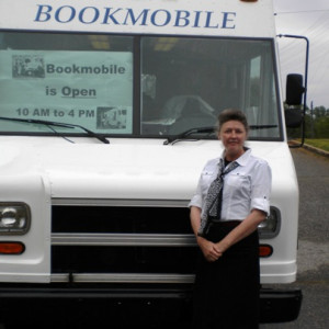 Brenda with Bookmobile at Westminster