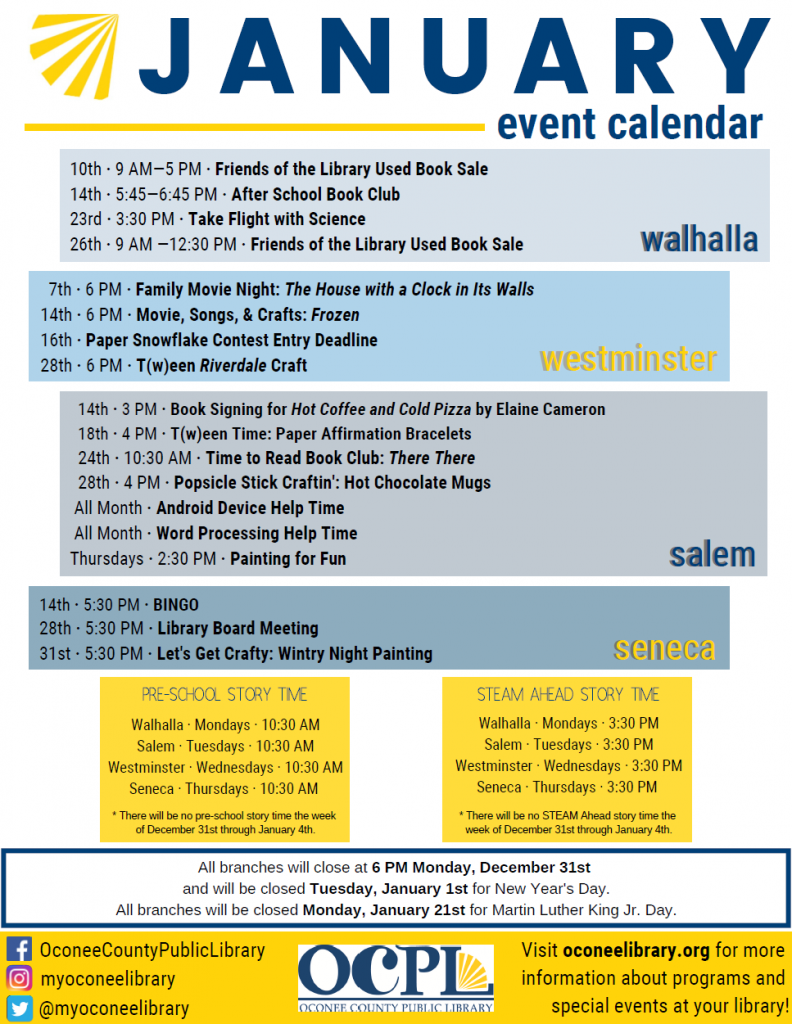 January 2019 print calendar of events-front page