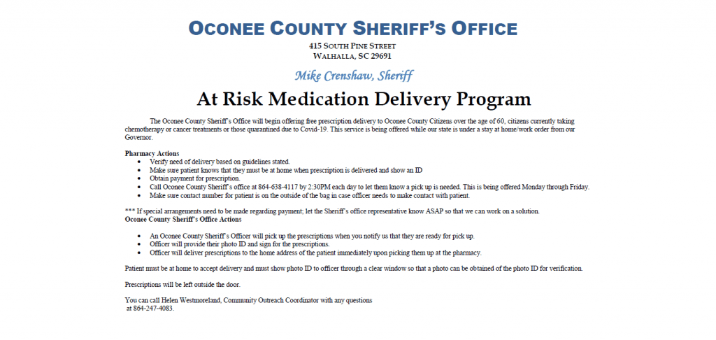 flyer on Sheriff's Office at-risk medication delivery