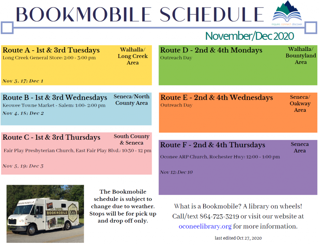 Bookmobile schedule, November and December, 2020