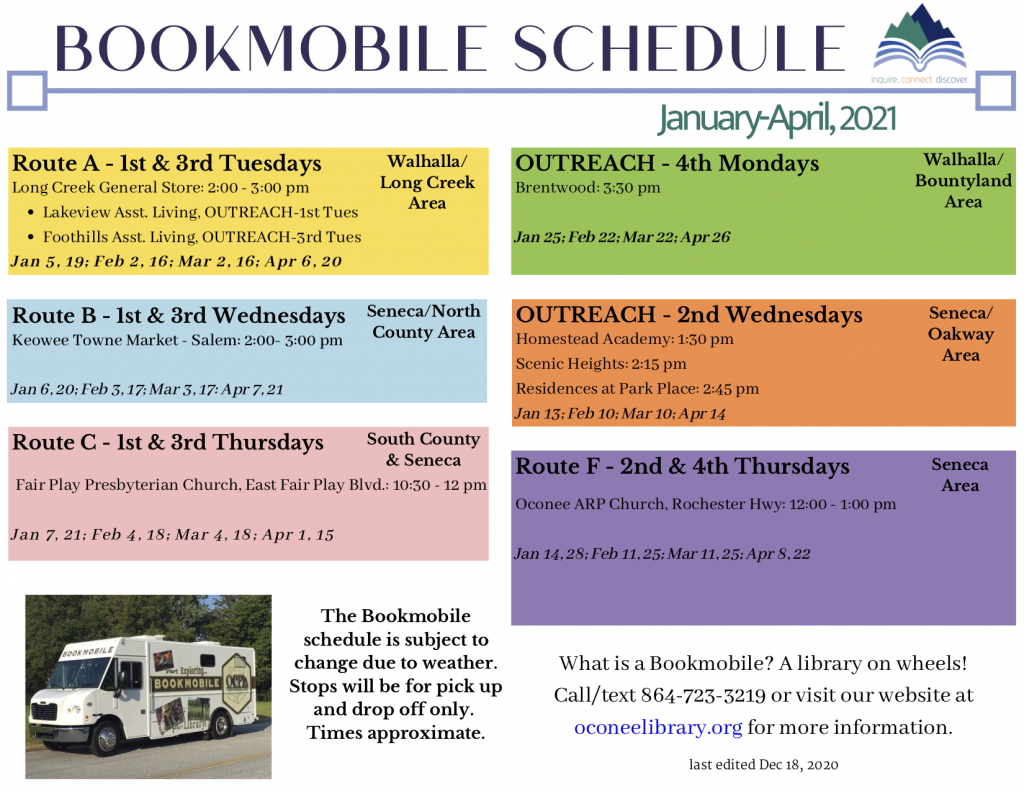 Jan-April, 2021 bookmobile schedule picture