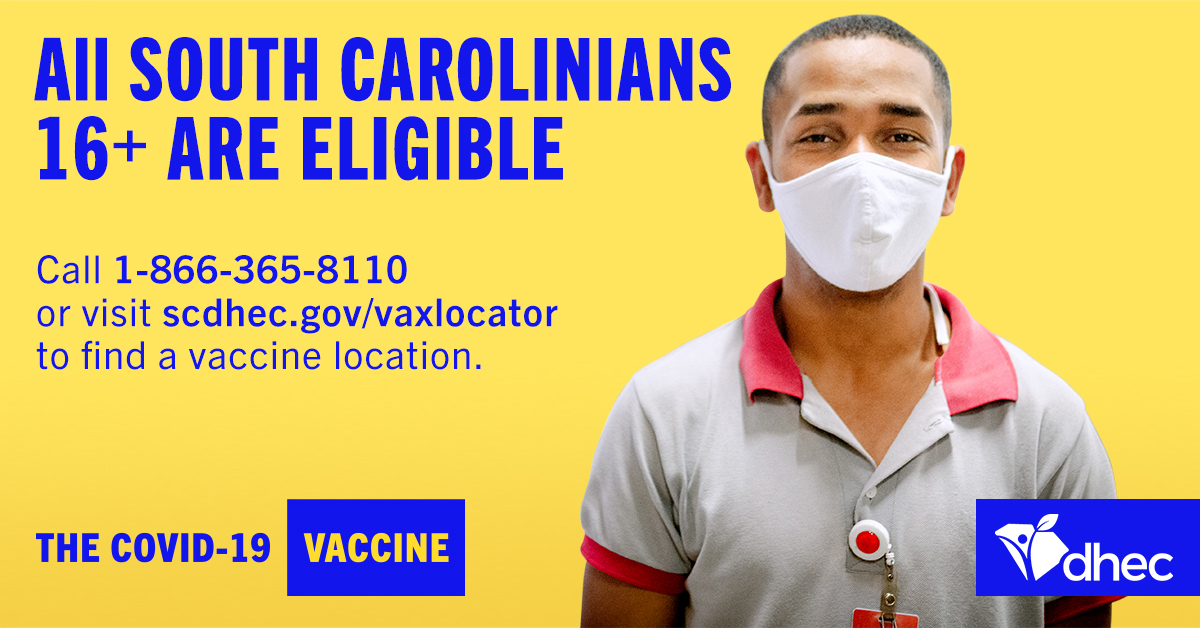 All SC residents aged 16+ are now eligible for the COVID-19 vaccine