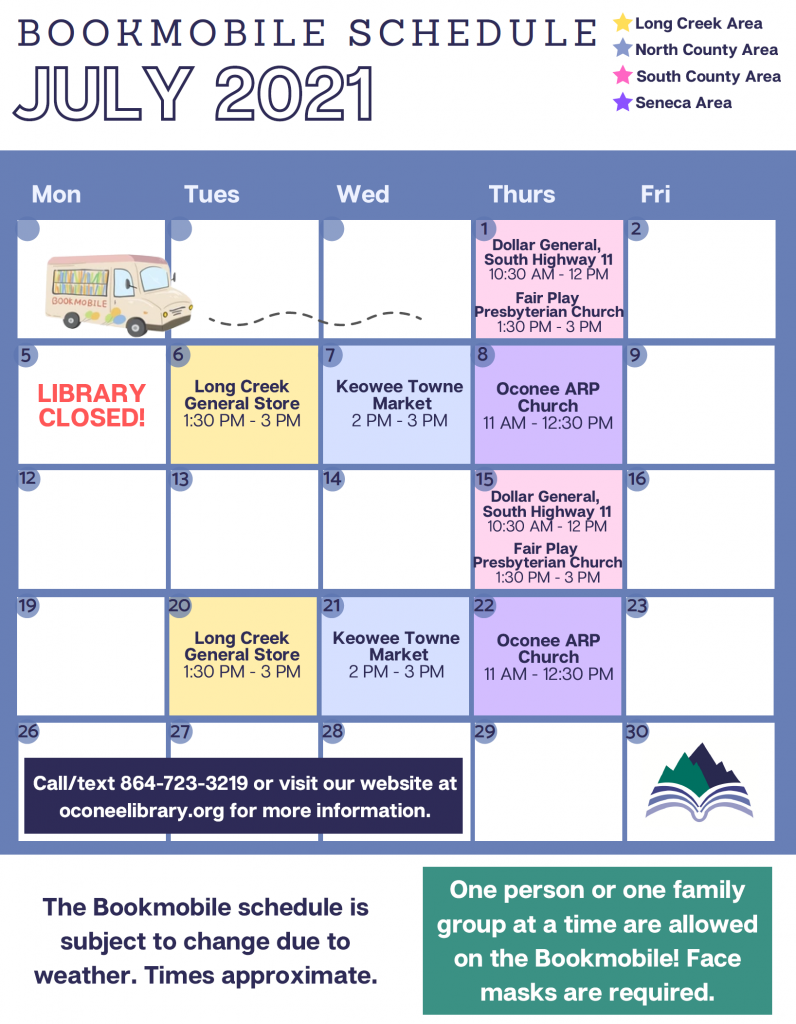 July 2021 bookmobile schedule
